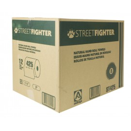 Paper Hand Towel - Roll of 425' (129.5 m) - Box of 12 Rolls - Brown - Streetfighter ABP ST425
