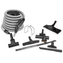 Deluxe for Central Vacuum, Brushes, Wand, Crevice tool, support, and 35' Silver Hose