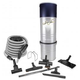 """Ensemble d'aspirateur central - Boyau 35' (10 m) - Balai à air et brosse à plancher 12"""" (30 cm) - Mini balai à air et outils multiples - noirs - Manchon télescopique"""