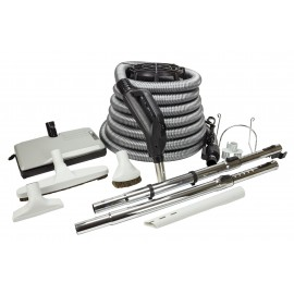 Central Vacuum Kit - 35' (10 m) Silver Electrical Hose - Sweep n Groom Power Nozzle - Floor Brush - Dusting Brush - Upholstery Brush - Crevice Tool - 2 Telescopic Wands - Hose and Tools Hangers - Grey
