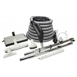 Ensemble pour aspirateur central - boyau électrique 10 m (35') argent - balai électrique Sweep n Groom - brosse à plancher - brosse à épousseter - brosse pour meubles - outil de coins - 2 manchons télescopiques - supports pour boyau et outils - gris