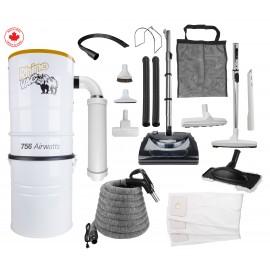Ensemble d'aspirateur central & accessoires RhinoVac avec balai électrique - Remis à neuf