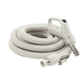 """Electrical Hose for Central Vacuum - 35' (10 m) 1 1/4"""" (32 mm) dia - Grey - Gas Pump Handle - On/Off Button - Power Nozzle Compatible - Button Lock - Plastiflex SZ130114035BCU - Demo"""