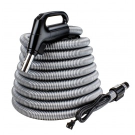 Electrical Hose with Button for Central Vac - 24v 110v 35' - Swivel - Gas Pump - Silver, Plastiflex SZ902114035BCU - Used
