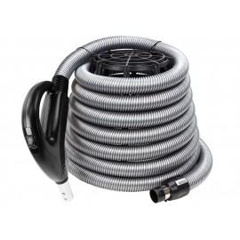 """Boyau pour aspirateur central - 9 m (30') - 35 mm (1 3/8"""") dia - argent - poignée pompe à gaz - Value Flex - Plastiflex XV902138030BU"""