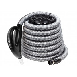 "Hose for Central Vacuum - 30' (9 m) - 1 3/8"" (35 mm) dia - Silver - Gas Pump Hanfle - Value Flex - Plastiflex XV902138030BU"