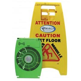 """Bilingual Sign """"CAUTION WET FLOOR"""" with Integrated Floor Dryer"""