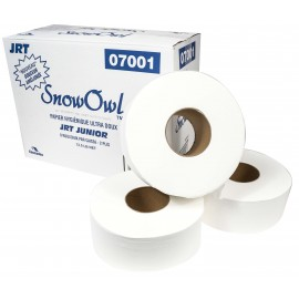 "Commercial Jumbo Bathroom Tissue - 2-Ply - 3.3 "" x 947' - 12.5 lb - Box of 8 Rolls - White - Snow Owl P7001"