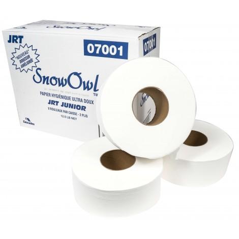 "Commercial Jumbo Bathroom Tissue - 2-Ply - 3.3 "" x 947' - 12.5 lb - Box of 8 Rolls - White - Snow Owl P7001"