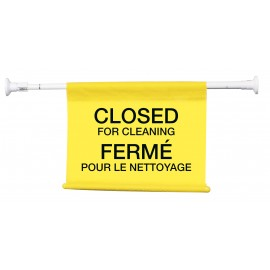 "Hanging Poster with Bilingual Inscription: ""Closed for Cleaning"" - Lock Pole stretches from 4"" (10.1 cm) up to 50"" (127 cm)"