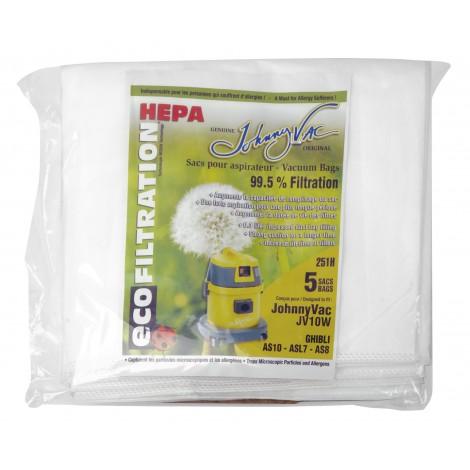 Sac microfiltre HEPA pour aspirateur Johnny Vac modèles JV10W et Ghibli AS10, ASL7, AS8 - paquet de 5 sacs