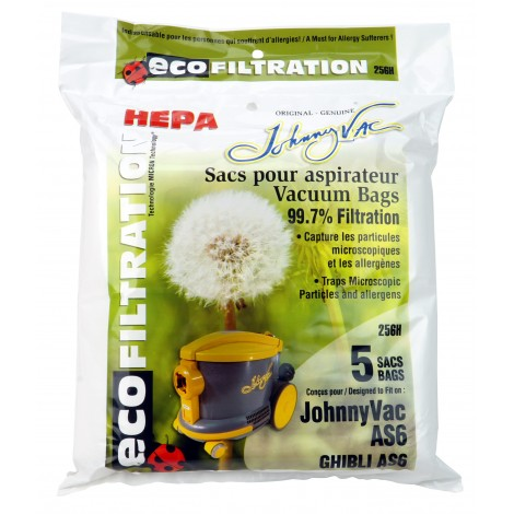 HEPA Microfilter Bag for Johnny Vac Vacuum AS6, Ghibli AS6 - Pack of 5 Bags