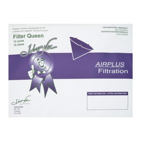 Sac de papier en forme de cône pour aspirateur Filter Queen - paquet de 12 sacs + 2 filtres moteur - Envirocare 200JV
