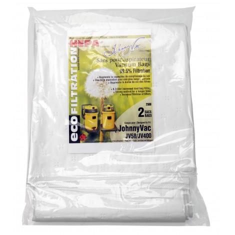 Sacs microfiltre HEPA pour aspirateur Johnny Vac modèles JV400 et JV58 - paquet de 2 sacs