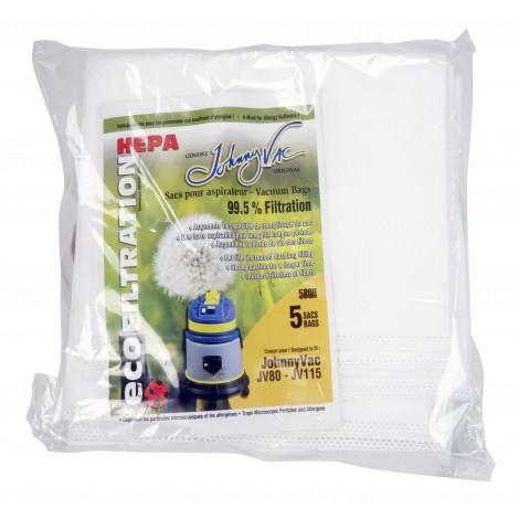 Sac microfiltre HEPA pour aspirateur Johnny Vac JV80 et JV115 - paquet de 5 sacs