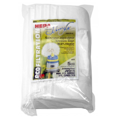 HEPA Microfilter Bag for Johnny Vac JV315 et M60, 315 Kodiak 315, Cobex 315 Vacuum - Pack of 5 Bags