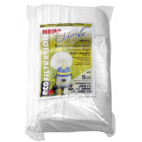 Sac microfiltre HEPA pour aspirateur Johnny Vac JV315 et M60, 315 Kodiak 315, Cobex 315 - paquet de 5 sacs