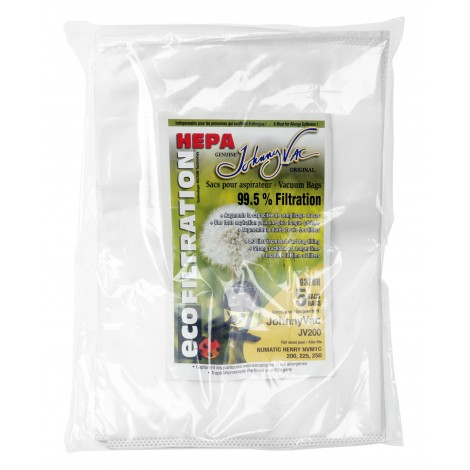 Sac microfiltre HEPA pour aspirateur Johnny Vac JV200 et Numatic Henry NVM1C 200, 225, 250, RSV130 - paquet de 5 sacs