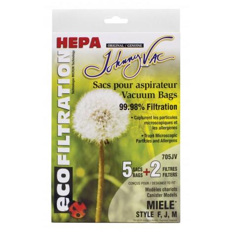 Sac microfiltre HEPA pour aspirateur Miele type F, J et M - paquet de 5 sacs + 2 filtres - Envirocare C205 FJM