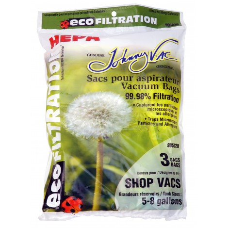 HEPA Microfilter Bag for Shop Vac Vacuum with Tank Capacity from 5 to 8 Gallons - Pack of 3 Bags - Envirocare 90532H