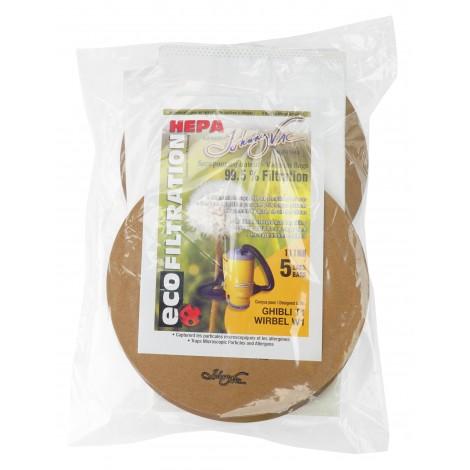 Sac microfiltre HEPA rond pour aspirateur Ghibli T1 et Wirbel W1 - paquet de 5 sacs