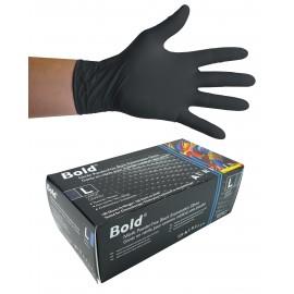 Gants jetables en nitrile - 5 mm - sans poudre - texturés - Bold - noir - taille large - Aurelia 73998 - boîte de 100