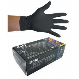 Nitrile Disposable Gloves - 5 mm - Powder-Free - Textured - Bold - Black - Large Size - Aurelia 73998 - Box of 100