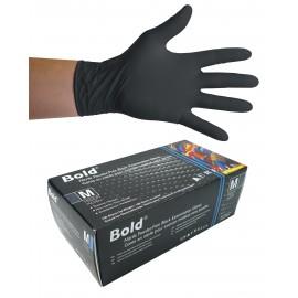 Gants jetables en nitrile - 5 mm - sans poudre - texturés - Bold - noir - taille medium - Aurelia 73997 - boîte de 100