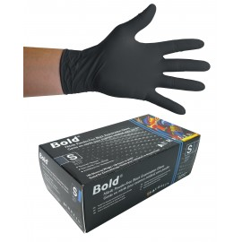 Nitrile Disposable Gloves - 5 mm - Powder-Free - Textured - Bold - Black - Small Size - Aurelia 73996 - Box of 100