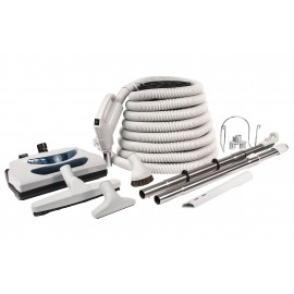 Central Vacuum Kit - 35' (10 m) Electrical Hose - Grey Power Nozzle - Floor Brush - Dusting Brush - Upholstery Brush - Crevice Tool - 2 Telescopic Wands - Hose and Tools Hangers - Grey