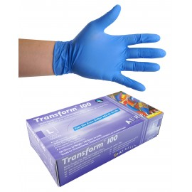 Nitrile Disposable Gloves - 3 mm - Powder-Free - Finger-Textured - Transform 100 - Blue - Large Size - Aurelia 9889A8 - Box of 100
