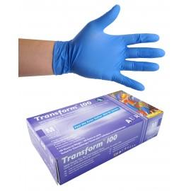 Gants jetables en nitrile - 3 mm - sans poudre - bout de doigts texturés - Transform 100 - bleu - taille medium - Aurelia 9889A7 - boîte de 100