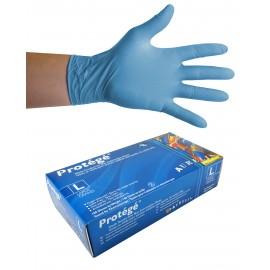 Nitrile Disposable Gloves - 4 mm - Powder-Free - Finger Textured - Protégé - Blue - Large Size - Aurelia 93998 - Box of 100