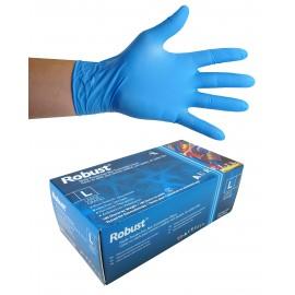 Gants jetables en nitrile - 5 mm - sans poudre - micro-texturés - Robust - bleu - taille large - Aurelia 93898 - boîte de 100