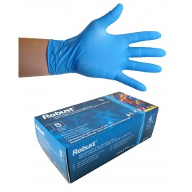 Gants jetables en nitrile - 5 mm - sans poudre - micro-texturés - Robust - bleu - taille petit - Aurelia 93896 - boîte de 100