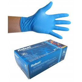 Gants jetables en nitrile - 5 mm - sans poudre - micro-texturés - Robust - bleu - taille extra-large - Aurelia 93899 - boîte de 100