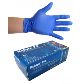 Nitrile Disposable Gloves - 6 mm - Powder-Free - Finger-Textured - Robust 9.0 - Blue - Large Size - Aurelia 96898 - Box of 100