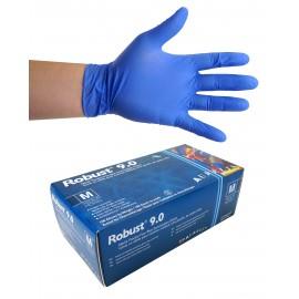 Gants jetables en nitrile - 6 mm - sans poudre - bout de doigts texturés - Robust 9.0 - bleu - taille medium - Aurelia 96897 - boîte de 100
