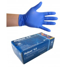 Nitrile Disposable Gloves - 6 mm - Powder-Free - Finger-Textured - Robust 9.0 - Blue - Small Size - Aurelia 96897 - Box of 100