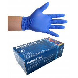 Nitrile Disposable Gloves - 6 mm - Powder-Free - Finger-Textured - Robust 9.0 - Blue - Small Size - Aurelia 96896 - Box of 100