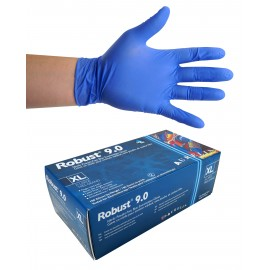 Nitrile Disposable Gloves - 6 mm - Powder-Free - Finger-Textured - Robust 9.0 - Blue - Extra-Large Size - Aurelia 96899 - Box of 100