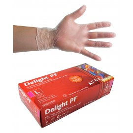 Vinyl Disposable Gloves - 4 mm - Powder-Free - Smooth Finish - Delight PF - Clear - Large Size - Aurelia 38228 - Box of 100