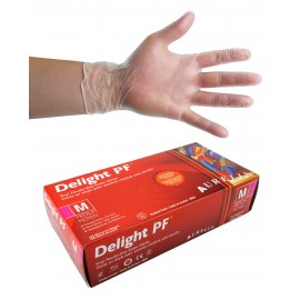 Vinyl Disposable Gloves - 4 mm - Powder-Free - Smooth Finish - Delight PF - Clear - Medium Size - Aurelia 38227 - Box of 100