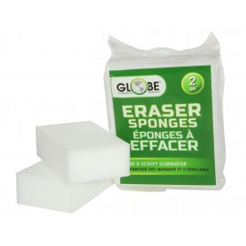 "Sponge Eraser - Marks and Scruffs Eliminator - 4.75"" X 2.4"" (12 cm X 2.4 cm) - White - Pack of 2 - Globe Commercial Products 4028"
