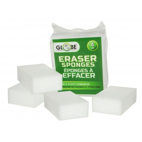 """Sponge Eraser - Marks and Scruffs Eliminator - 4.75"""" X 2.4"""" (12 cm X 2.4 cm) - White - Pack of 4 - Globe Commercial Products 4027"""