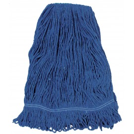 Synthetic String Mop Replacement Head - with Narrow Strips and Looped End - Blue