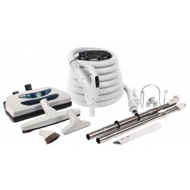 Central Vacuum Kit - 35 ' (10 m) Electrical Hose - Grey Power Nozzle - Floor Brush - Dusting Brush - Upholstery Brush - Crevice Tool - 2 Telescopic Wands - Hose and Tools Hanger - Grey