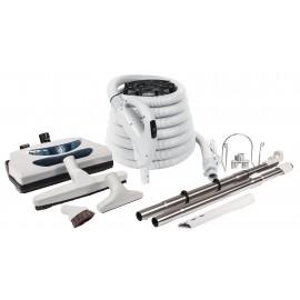 Ensemble pour aspirateur central - boyau électrique de 10 m (35') - balai électrique gris - brosse à plancher - brosse à épousseter - brosse pour meubles - outil de coins - 2 manchons télescopiques - support à boyau et outils - gris