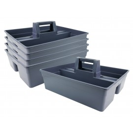 Plastic Caddy for Cleaning Products - Grey - 5 Units