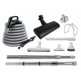 Central Vacuum Kit - 30' (9 m) Electrical Silver Hose - Black Power Nozzle Wessel-Werk - Floor Brush - Dusting Brush - Upholstery Brush - Crevice Took - 2 Telescopic Wands - Hose and Tools Hangers - Grey